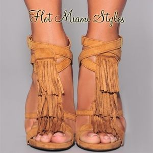 CAMEL Faux Suede Strappy Tassel Heeled Sandals
